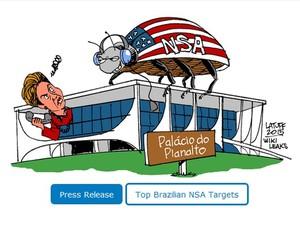 Charge publicada no site Wikileaks que satiriza a espionagem dos EUA a integrantes do governo Dilma (Foto: Reprodução / Wikileaks)