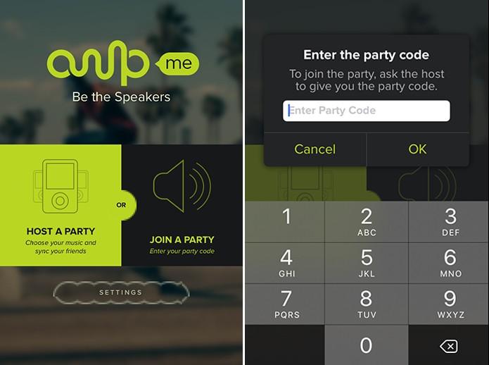 Ampme pedirá código da festa no dispositivo que servirá como caixa de som (Foto: Reprodução/Elson de Souza)