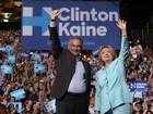 Hillary e Kaine fazem 1ª aparição pública como companheiros de chapa