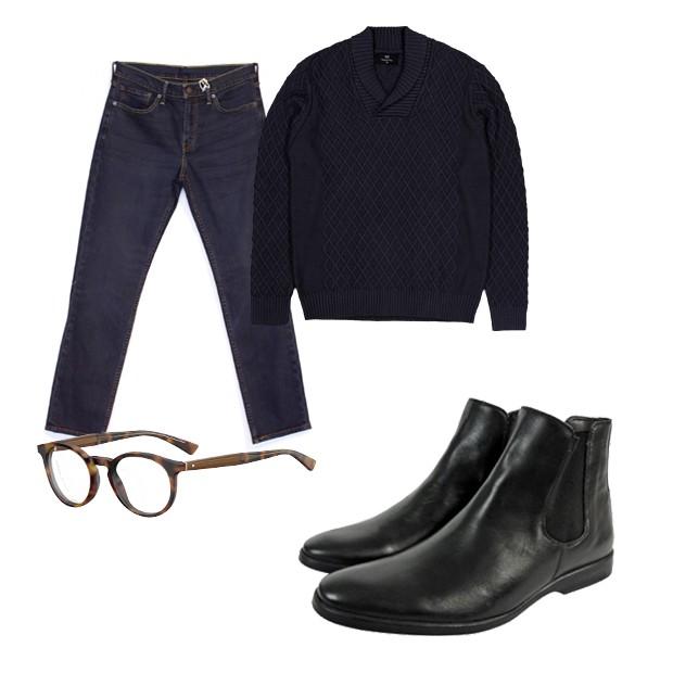 Jeans Levi's (R$ 289,90), tricô Renner (R$ 129), óculos Hugo Boss (R$ 997,50), bota Zapalla (R$ 588) (Foto: Divulgação)