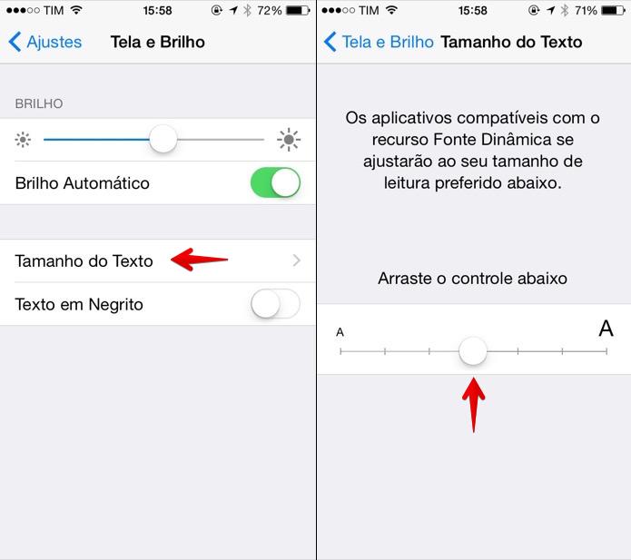 ca4b2554b Alterando o tamanho do texto do iOS (Foto  Reprodução Helito Bijora)