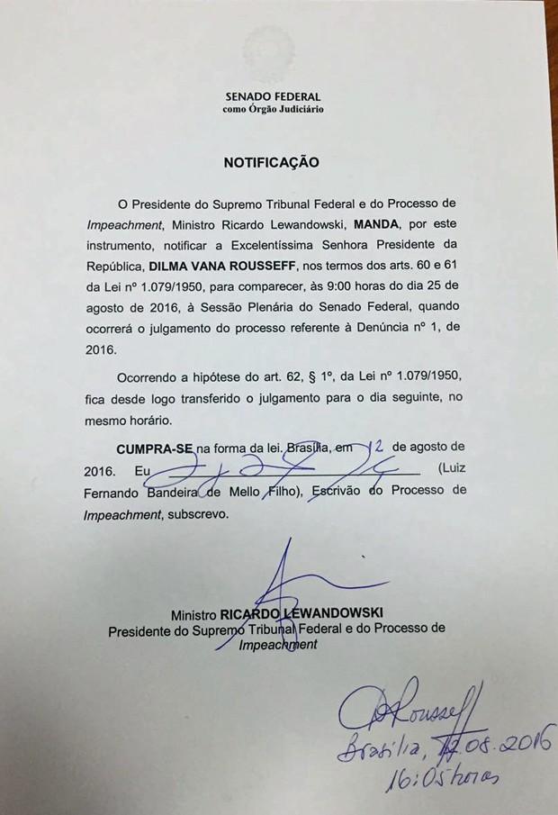 Cópia da notificação entregue a Dilma Rousseff comunicando sobre a data do início do julgamento final do processo de impeachment (Foto: Reprodução)