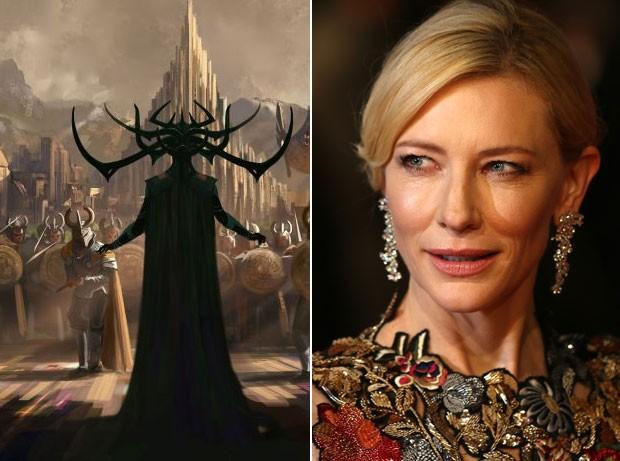 Cate Blanchett interpretará a vilã Hela, que aparece na arte conceitual publicada pela Marvel, em 'Thor: Ragnarok' (Foto: AFP PHOTO / JUSTIN TALLIS e Divulgação / Marvel)