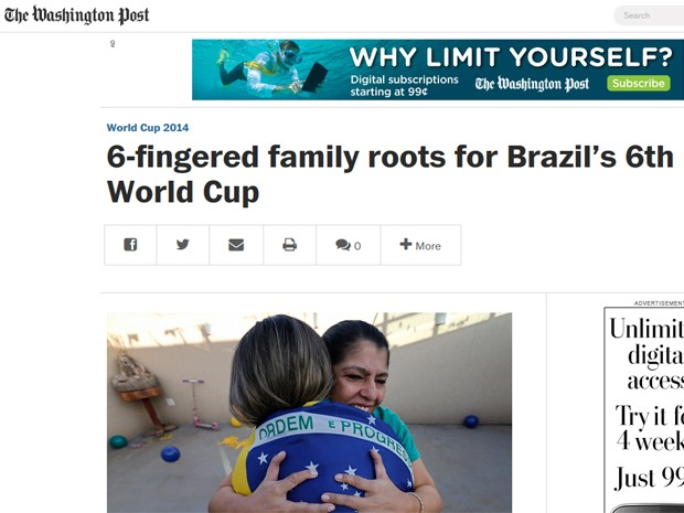 Página do jornal 'Washington Post', mostrando matéria sobre família do DF que tem 14 pessoas com seis dedos nos pés e nas mãos (Foto: The Washington Post/Reprodução)