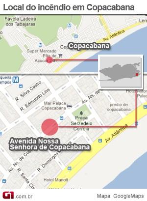 Mapa incêndio Nossa Senhora de Copacabana (Foto: Editoria de Arte/G1)