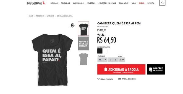 Camiseta da grife Reserva com frase de Ivete Sangalo (Foto: Reprodução/Facebook)