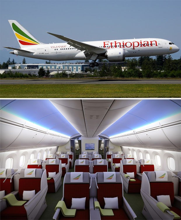 787 Dreamliner da Ethiopian durante pouso e ilustração que apresenta a classe executiva do modelo (Foto: Reprodução/Facebook/Ethiopian Airlines)