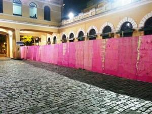 Tapumes foram colocados para início das obras (Foto: Prefeitura de Florianópolis/Divulgação)