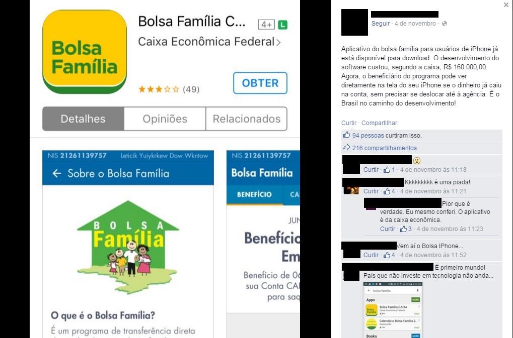 Usuários do Facebook ironizam aplicativo do Bolsa Família (Foto: reprodução/Facebook)