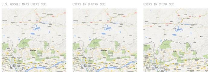 Limite entre Butão e China é mostrado de formas diferentes (foto: Reprodução) (Foto: Limite entre Butão e China é mostrado de formas diferentes (foto: Reprodução))