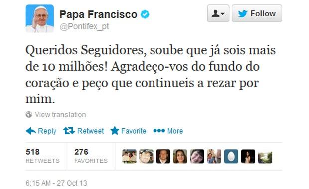 Mensagem divulgada pelo Papa Francisco no Twitter neste domingo (27), agradecendo pelos 10 milhões de seguidores no microblog (Foto: Reprodução / Twitter)