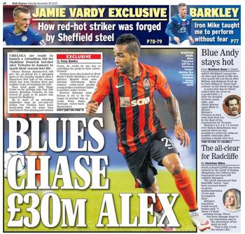 Jornal Chelsea interessado em Alex Teixeira  (Foto: Reprodução / Daily Express)