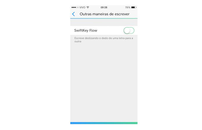 Desativando o modo de escrita Flow do SwiftKey para iOS (Foto: Reprodução/Marvin Costa)
