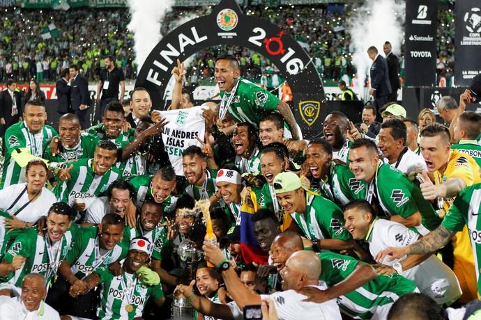 Jogadores do Atlético Nacional comemoram título da Taça Libertadores (Foto: REUTERS/John Vizcaino)