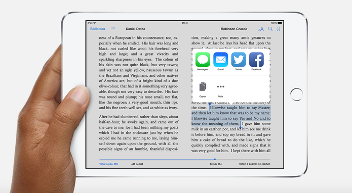 O iBooks da Apple não decepciona e traz o padrão qualidade da maça (Foto: Divulgação/ Apple) (Foto: O iBooks da Apple não decepciona e traz o padrão qualidade da maça (Foto: Divulgação/ Apple))