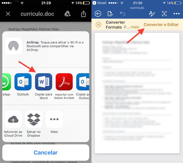 Opção para abrir um documento para edição no Word para iPhone (Foto: Reprodução/Marvin Costa)