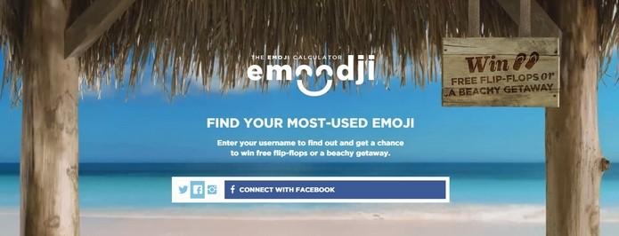 Botão de conexão com Facebook do Emoodji (Foto: Reprodução/Raquel Freire)