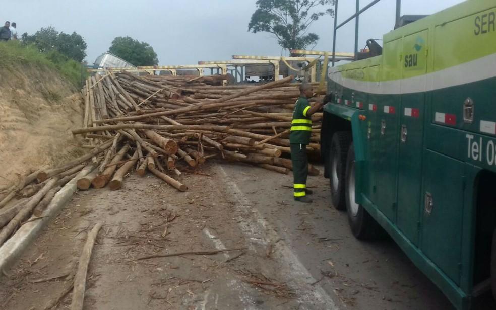 Carregamento de eucalipto ficou na pista (Foto: Divulgação/Polícia Rodoviária Federal)