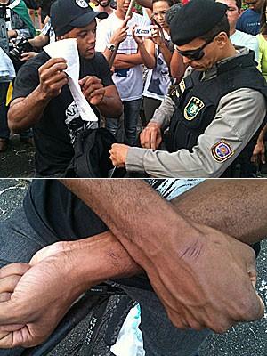 Estudante se queixa de ter sido preso sem acusação, no Recife (Foto: Alexandre Morais / G1)