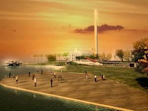 Um dos desenhos do projeto de revitalização da orla do Guaíba, em Porto Alegre (Foto: Divulgação/PMPA)