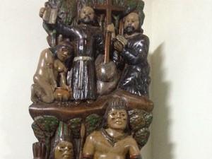 Escultura Jesuítas (Foto: Cassiane Seghatti/G1)