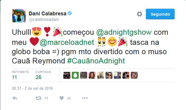Dani Calabresa comenta participação de Cauã Reymond no Adnight (Foto: Reprodução/Instagram)