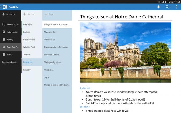 Update do OneNote troxe interface otimizada para tablets Android (Foto: Divulgação/Microsoft)
