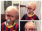 Filho de Neymar posa com uniforme do Barcelona e óculos de nerd