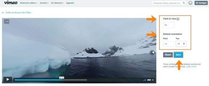 Ajuste a visualização padrão do vídeo em 360 graus do Vimeo (Foto: Reprodução/Barbara Mannara)