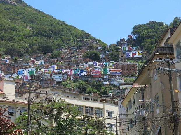Favela Santa Marta foi pacificada no dia 19 de dezembro de 2008.  (Foto: Janaína Carvalho / G1)