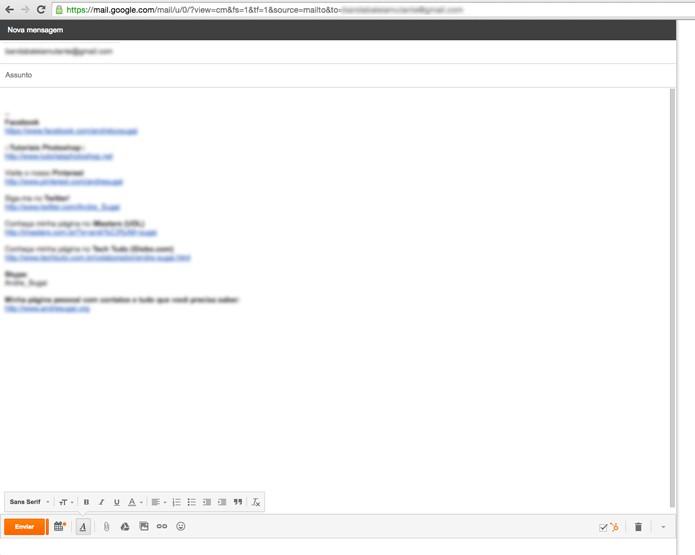 Janela do Gmail aberta (Foto: Reprodução/André Sugai)