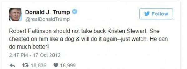 As mensagens de Donald Trump sobre o relacionamento de Kristen Stewart e Robert Pattinson (Foto: Twitter)