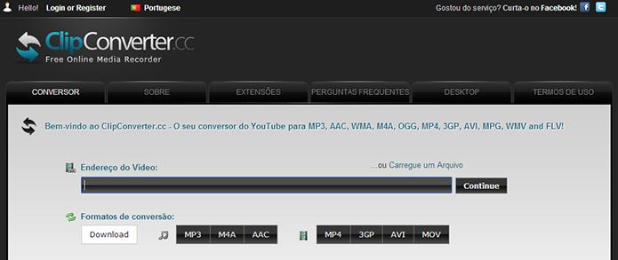 Com Clipconverter, qualquer link contendo vídeos e animações pode ser baixado para o PC (Foto: Reprodução/Clipconverter)