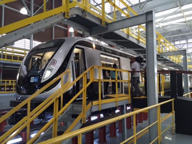 Primeiro trem da Linha 4 do Metrô Rio foi apresentado no Centro (Foto: Mariucha Machado/G1)