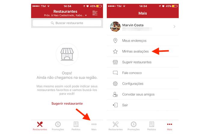 Acessando a tela de avaliações de usuário do iFood no iPhone (Foto: Reprodução/Marvin Costa)