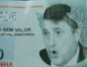 cédula nota dinheiro Portuguesa Manuel da Lupa (Foto: Rodrigo Faber / Globoesporte.com)