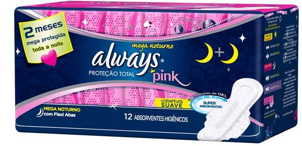 Always Pink Proteção Total Mega Noturno. Para quem precisa de máxima proteção (Foto: Divulgação)