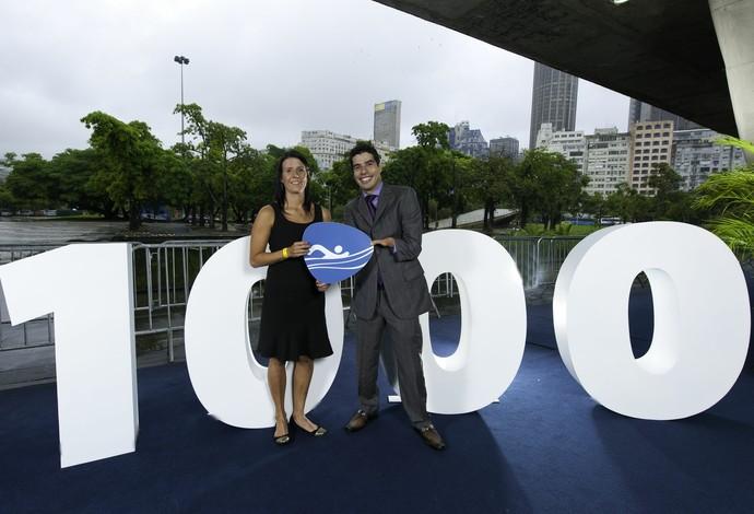 Daniel Dias e Suzana Schnarndorf, vencedores do Prêmio Paralímpicos 2013, celebram o marco de 1.000 dias para os Jogos Paralímpicos do Rio 2016 (Foto: Alex Ferro / Rio 2016)