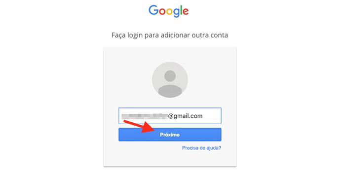 Iniciando o login de uma segunda conta no Google Drive pelo navegador web (Foto: Reprodução/Marvin Costa)