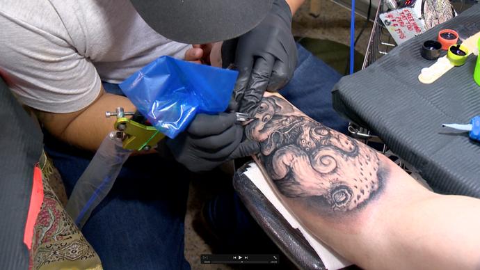 Tatuagem feita na Expo Tatto, em Vitória (Foto: Divulgação/ TV Gazeta ES)