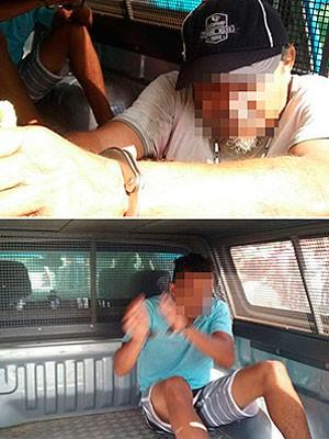Pai e filhos foram presos em flagrante após morte de lavador na Bahia (Foto: Aldo Matos/ Acorda Cidade)