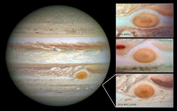 Imagens de Júpiter tiradas pelo telescópio Hubble mostram como diminuiu o tamanho da 'Grande Mancha Vermelha' do planeta  (Foto: NASA/ESA/Divulgação)