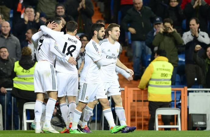 Real Madrid comemora contra o Espanyol (Foto  AFP) 3e3780fc02a7e