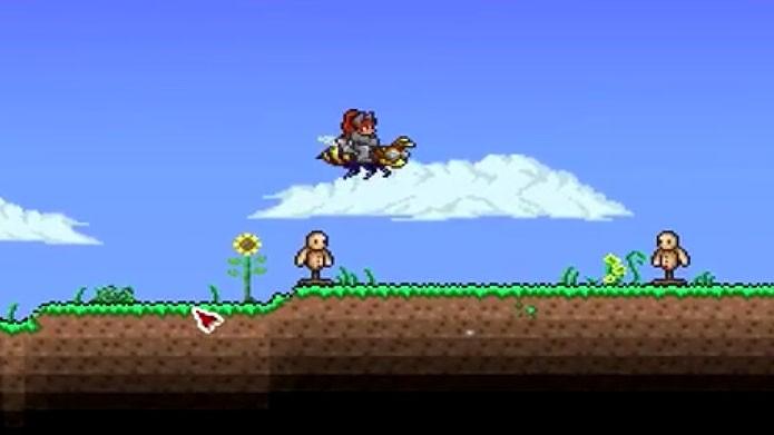Em Terraria, você deve pegar o item Honeyed Goggles para conseguir a Bee Mount (Foto: Reprodução/Youtube)