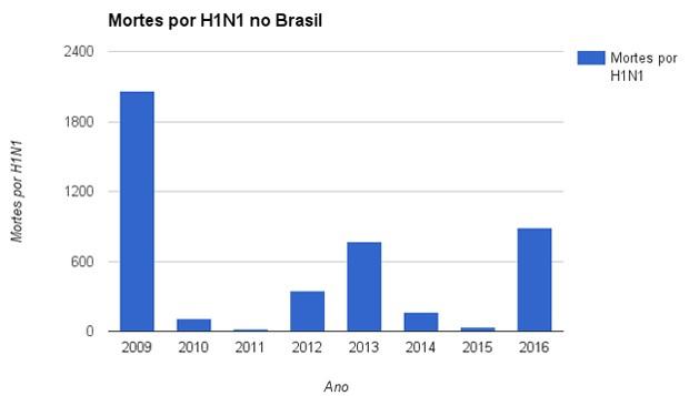 Infográfico - Mortes por H1N1 no Brasil (Foto: G1)