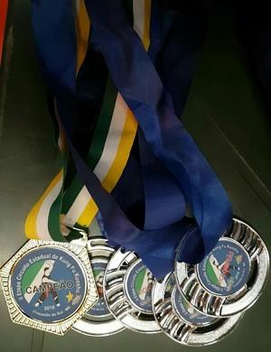 Medalhas de Luis Gustavo conquistadas no campeonato em Chapadão do Sul  (Foto: Luis Gustavo/ arquivo pessoal)