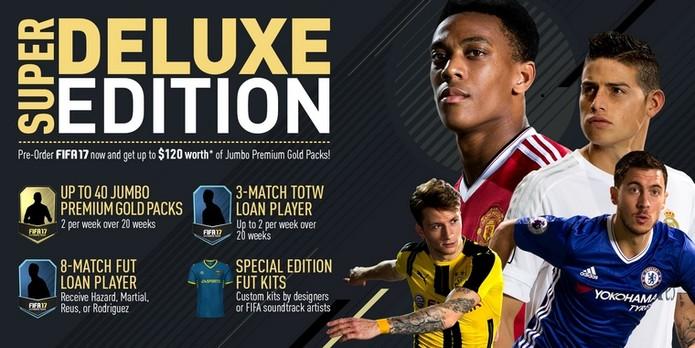 Benefícios da edição de Super Luxo, exclusiva digital, de Fifa 17 (Foto: Divulgação/EA)