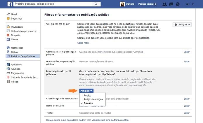 editar quem pode comentar as informações públicas do perfil (Foto: editar quem pode comentar as informações públicas do perfil)
