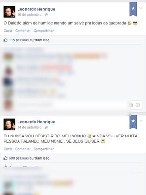 Duas postagens no Facebook em que o garoto revela o sonho de ser famoso e diz ser fã de MC Daleste (Foto: Reprodução Facebook)