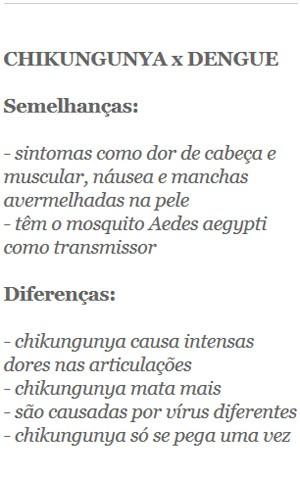 Diferenças e semelhanças entre dengue e chikungunya (Foto: G1)